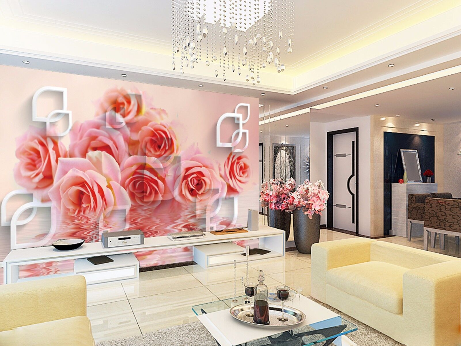 3D Water red pink 3544 Wall Paper Wall Print Decal Wall Deco Indoor Wall Murals