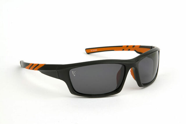 New Fox Wrap Chunk Sunglasses Black Orange Frame / Gray Lens CSN039 Carp Fishing