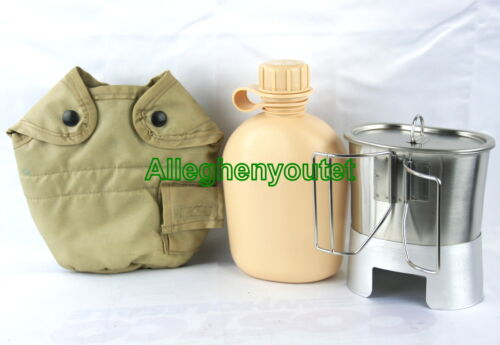 Cup Lid and Stove NEW Military 5 Piece 1 Quart CANTEEN SET with 1 QT TAN Cover