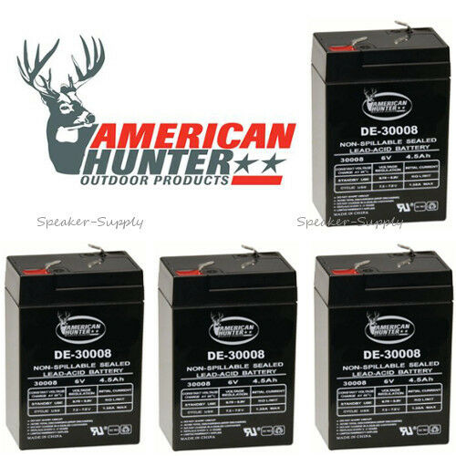 4 Pack American Hunter 6V 4 5 Amp Rechargeable Battery DE-30008 Feeder Game  Call