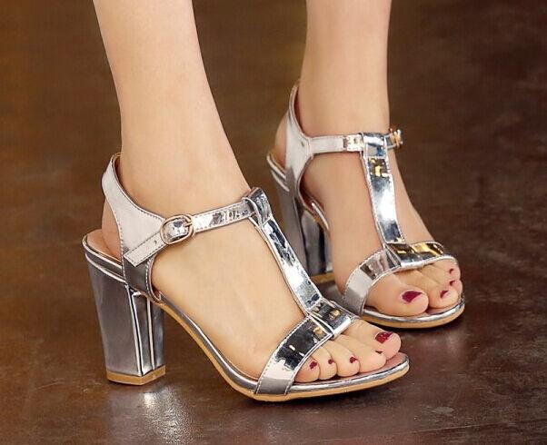 Sandalias de mujer talón cuadrado plata elegantes talón 7.5 cm cómodo 9314