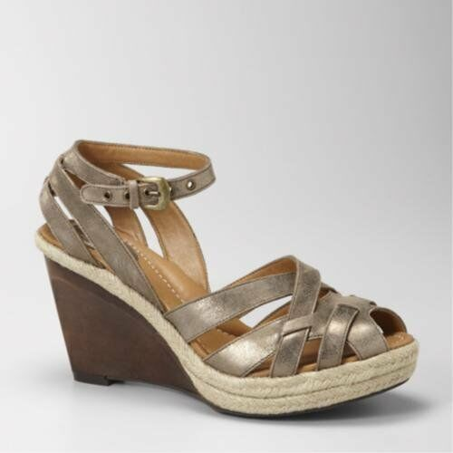 Fossil Women's Sofia Wedge (5.5, Antique gold)