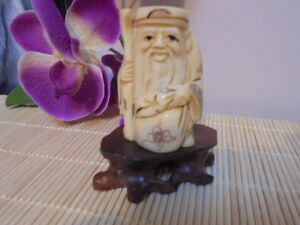 Netsuke-Yak-Bone-Smiling-Man-Hand-Carved-Figurine-On-A-Stand