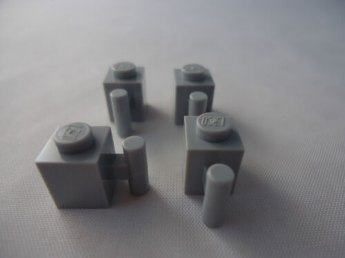 LEGO 1 x 1 MODIFIED LIGHT BLUISH GREY BRICK x 4 WITH HANDLE PART No 2921