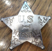 Us Marshal U.s. Badge Of The Old West With Star Western Inspred Pin Back Bw-21