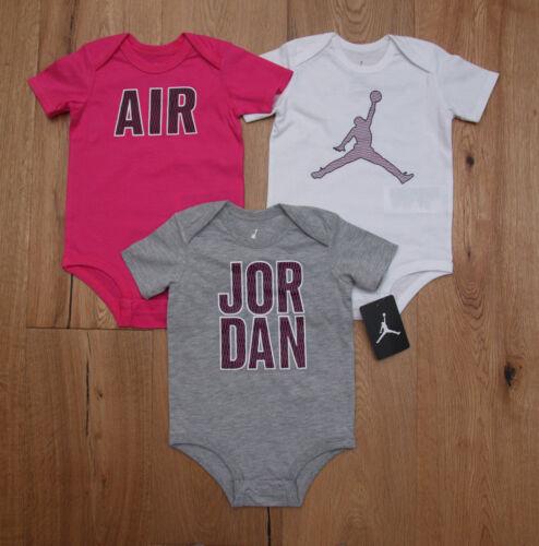 White /& Gray ~ Jumpman ~ Air Jordan Baby Girl 3 Piece Bodysuit Set ~ Pink