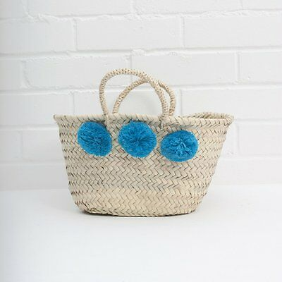 Tote Shopper Bag Moroccan Large Teal Blue Pom Pom French Market Beach Basket