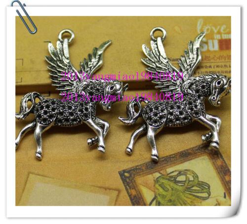 Free shipping 2//10pcs Alloy of cute little pegasus fashion charm pendant