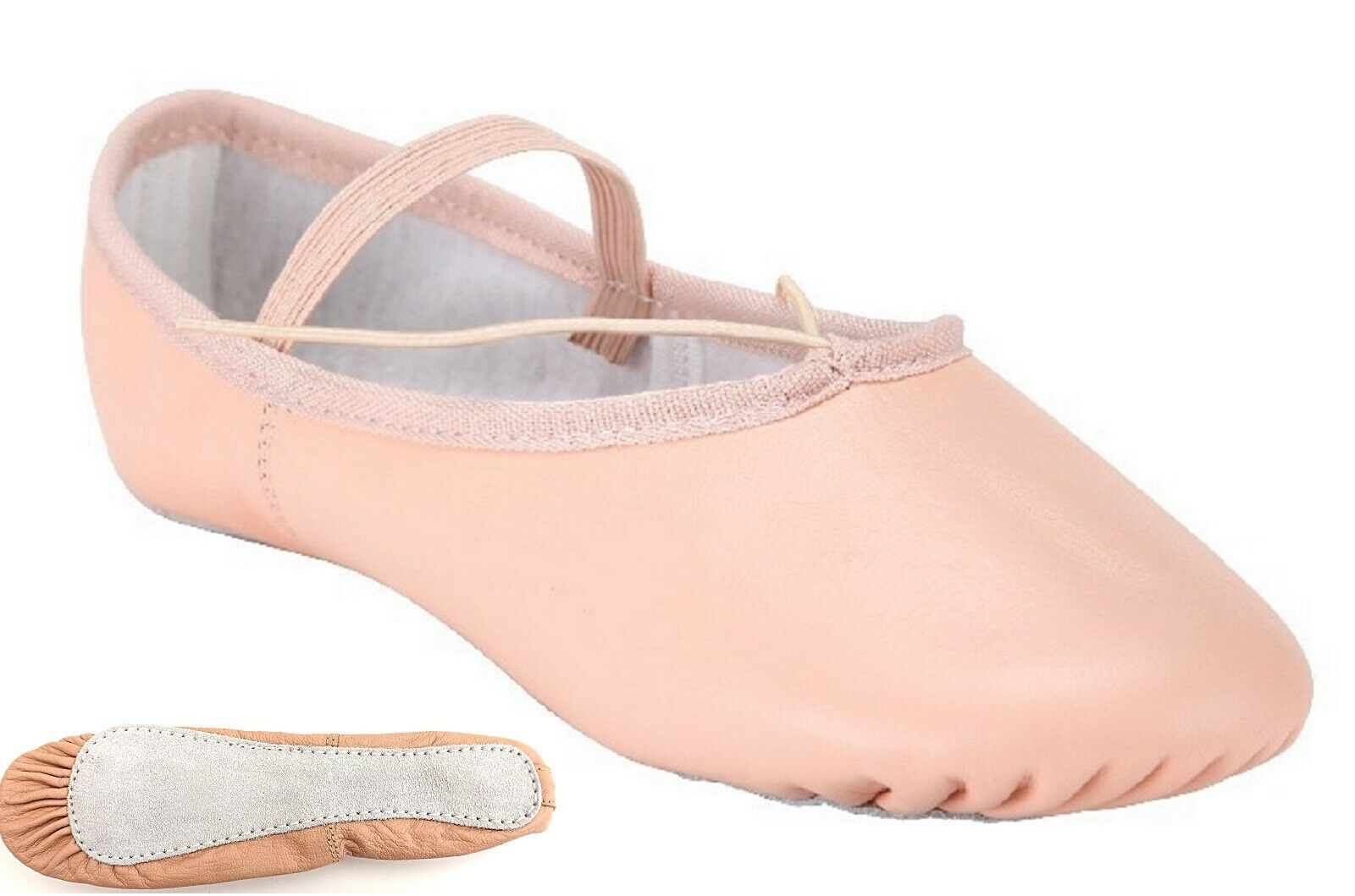 Ballet Dance Leather Shoes Full Sole Children's and Adult's Sizes Pale Pink