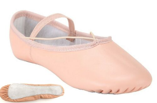 Ballet Dance Leather Shoes Full Sole Children/'s and Adult/'s Sizes Pale Pink