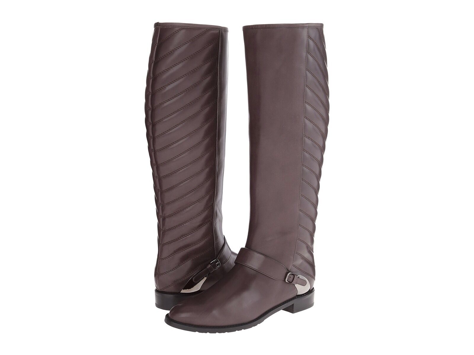 695.00 NEW Stuart Weitzman Raceway Brown Leather Boots shoes 12 12M 12B 42