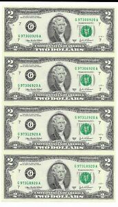 FRN-Uncut-Sheet-of-4-Series-2003A-Chicago-District-Top-Serial-G-97300920-A