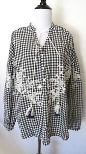 Zara-Blue-Color-Check-Print-Embroidered-Long-Sleeve-Pom-Pom-Blouse-Size-XS