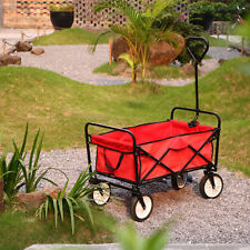 Folding Wagon Collapsible Cart Garden Buggy Shopping Tool Sports Outdoor Red