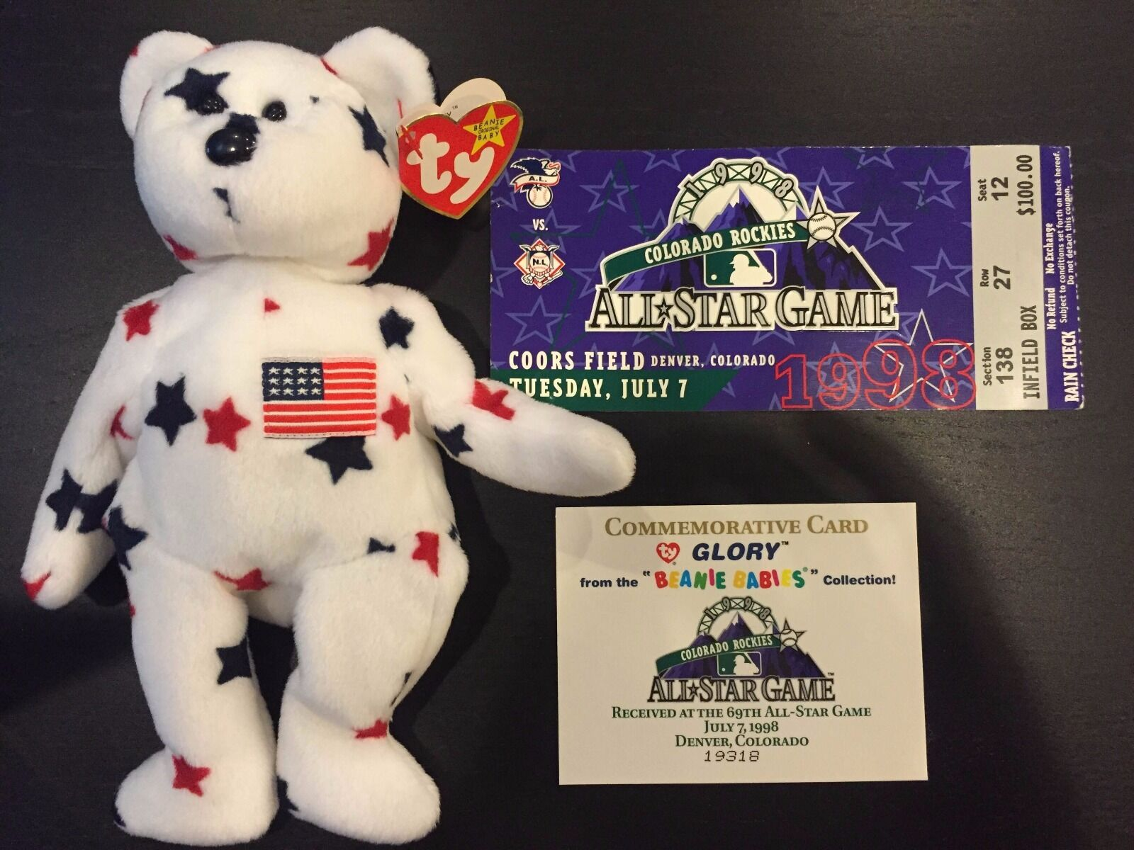TY Beanie Baby Glory Spec. Edt. Perfect PE Pellet W  Comm. Card AND All Star Tix