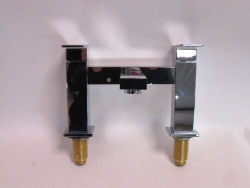 Square Double Handle Bath Filler Taps Faucet Deck Mounted Chrome 1260500 #8M1