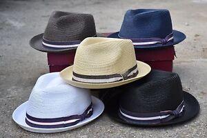 0952d906 Mens Summer Fedora Hat, Poly braid Stingy Brim, Crushable & Light ...