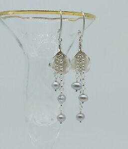 STERLING SILVER HILL TRIBE CALLA LILY GRAY FRESHWATER PEARL DROP LEVER BACK...
