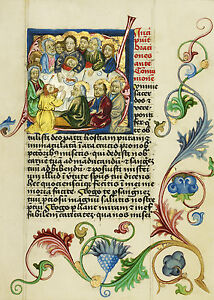 Art Print The Last Supper in the initial S Illuminated Manuscripts
