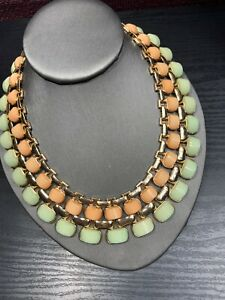 """Vintage Peach Pale Green  extra large bib statement necklace 16"""" Inches Long"""