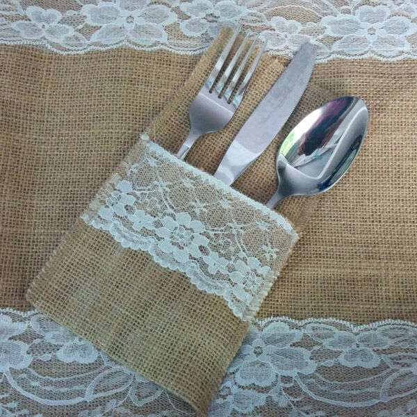 10 X Hessian Burlap Lace Wedding Cutlery Holder Pouch Rustic Decorations Favours