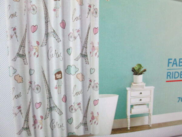 Splash Home PARIS LOVE Fabric Shower Curtain Eiffel Towel Heart Bike Girls