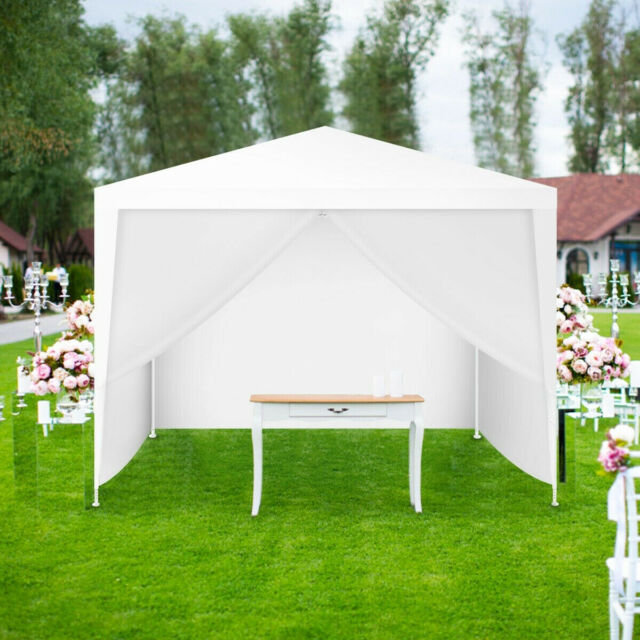 Canopy Tent 10 x 10 Feet Outdoor Party Shelter Sun Shade with Side Walls  White