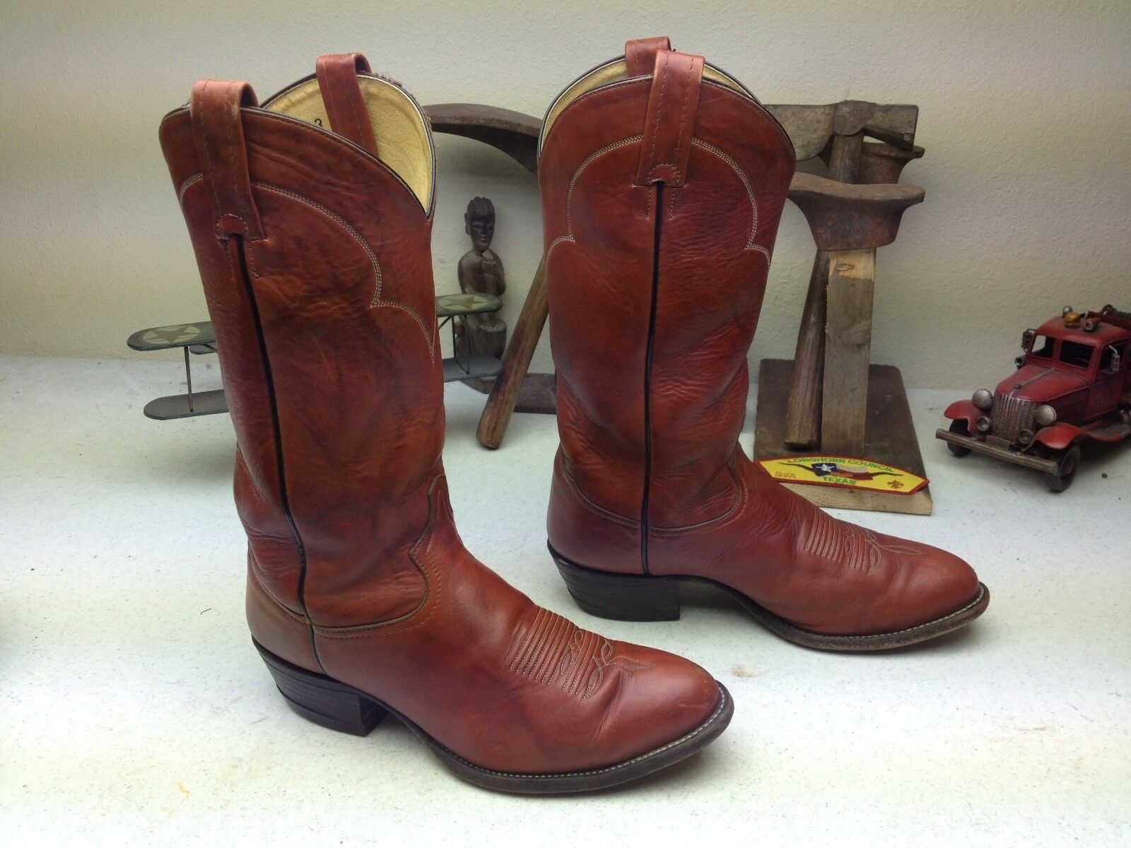 VINTAGE USA TONY LAMA braun braun braun LEATHER WESTERN ENGINEER TRAIL BOSS Stiefel Größe 8.5EE ac2095