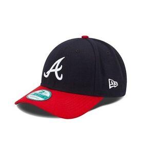 New Era 9FORTY MLB Atlanta Braves The League Navy Curved Peak Hat ... 9dfa67c0ef4