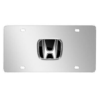 Ford Mustang Black Infill Logo on Chrome License Plate