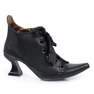 Ellie 301-ABIGAIL Black 3 inch Spool Heel Women's Costume Lace Up Witch Shoe New