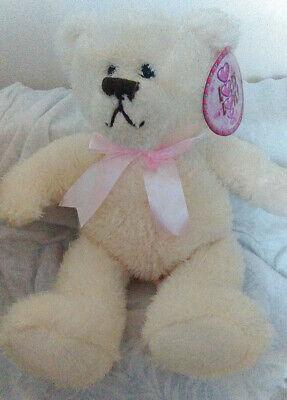 """12"""" Humatt Color Crema Morbido Peluche Giocattolo Lots Of Love Teddy Bear Con Fiocco Rosa Chiaro-mostra Il Titolo Originale Lieve E Dolce"""