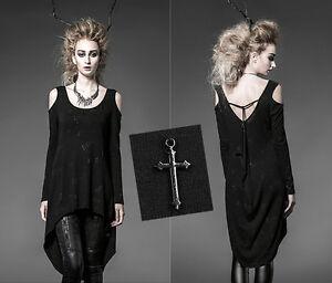 OUTLET-Haut-tunique-robe-gothique-punk-lolita-pendentif-crucifix-mode-PunkRave