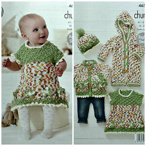 bf2436214 KNITTING PATTERN Baby Cardigan Hat All- in-One and Dress Chunky King ...