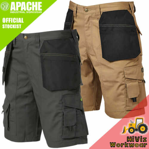 Apache Industrial Work Wear Shorts Grey Beige Holster Pocket Low Rise Rip Stop