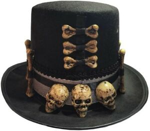 Collectible Voodoo Priest Hat with Skulls and Bones