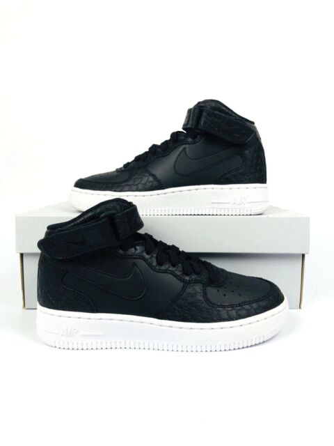 Nike Air Force 1 Mid LV8 Gs Big Kids 820342 001 Black Snakeskin Shoes Size 4.5