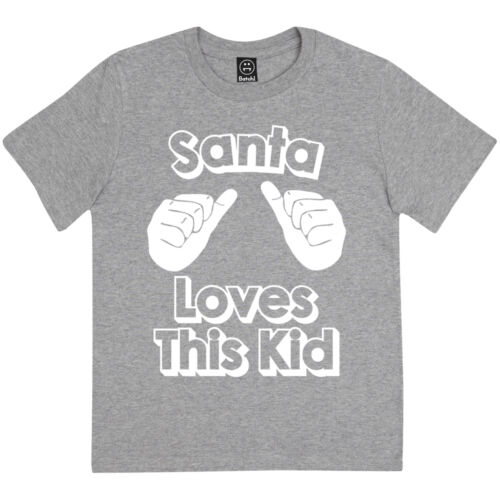 SANTA LOVES THIS KID FESTIVE BOYS FUN NOVELTY CHILDRENS CHRISTMAS T-SHIRT