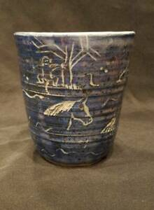 Blue-Ceramic-Primitive-Folk-Art-Design-Vase-Planter-6-Tall