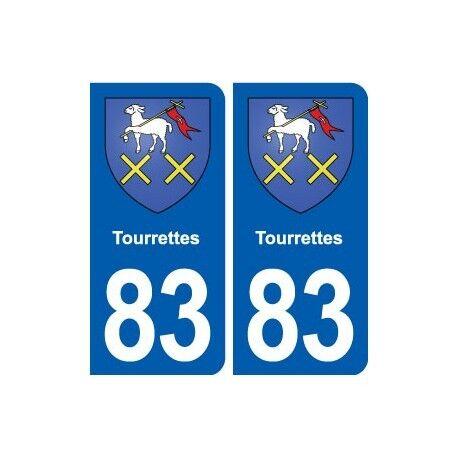 83 Tourrettes blason autocollant plaque stickers ville arrondis
