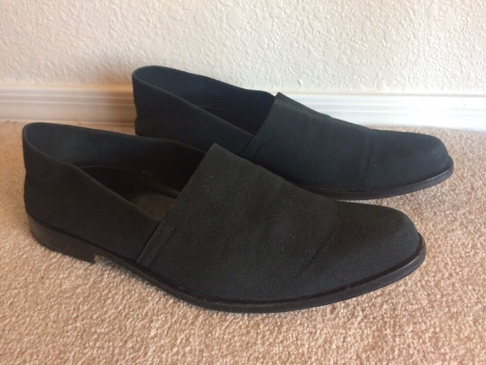 Walter Steiger shoes mens sz 10.5 Black Canvas Loafers Thick Leather Soles Italy