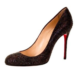 quality design 70c51 497bd Details about NEW! $3495 Christian Louboutin Fifi Strass Crystal Plum Color  Pumps EU 37.5