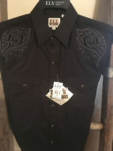 Western Shirt Ely Cattleman L/S Solid BLACK w/Scroll Tonal Embroidery