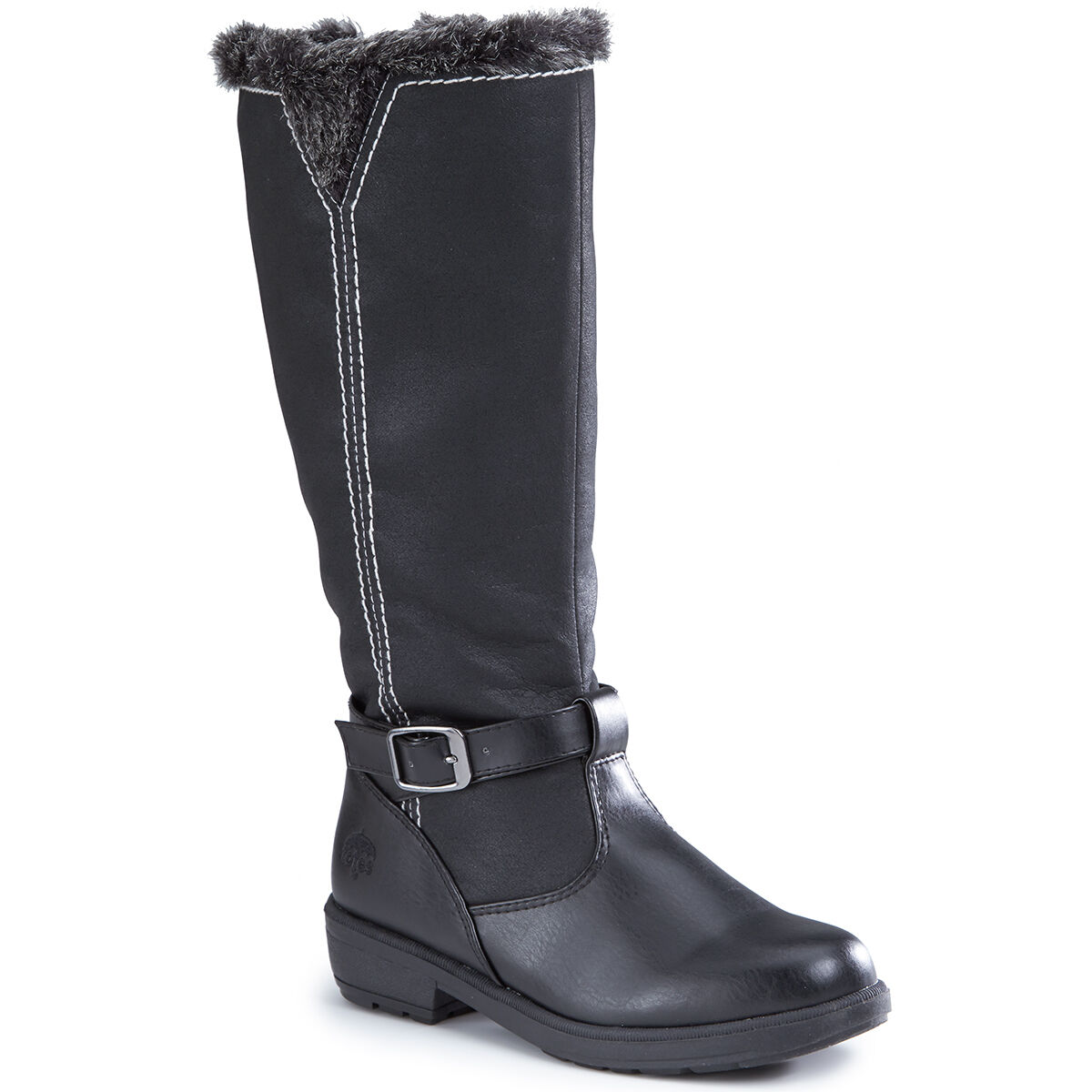 NEW NEW NEW femmes noir WATERPROOF FAUX FUR TOTES RIDING bottes WITH SIDE ZIPPER BUCKLE 124857