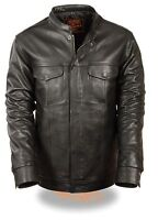 Men's Motorcycle Son Of Anarchy Club Style Leather Shirt Snap Jacket Black