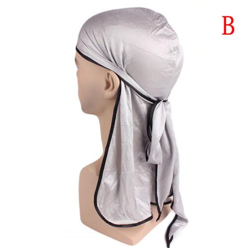 Satin Breathable Bandana Hat Silky Durag Do Doo Du Rag Long Tail Headwrap    J7