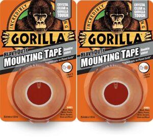 2x-Gorilla-Glue-Heavy-Duty-Mounting-Tape-Double-Sided-Weatherproof-Crystal-Clear