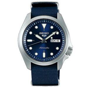 Seiko-5-Sports-Automatic-Blue-Dial-Nylon-Strap-Men-039-s-Watch-SRPE63K1-RRP-230