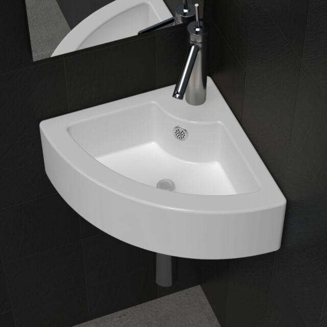 Vidaxl lavello ceramica Foro Rubinetto e troppo pieno ad angolo Bianco