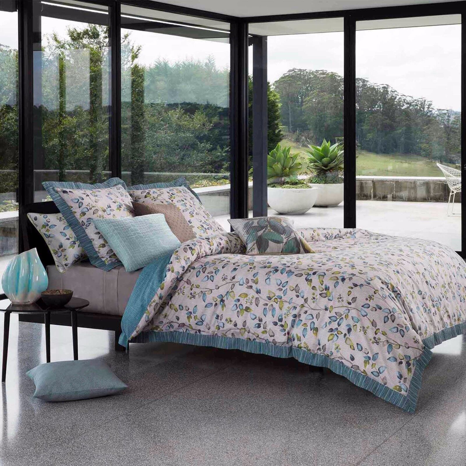 KAS AUSTRALIA ELSBURY 3PC SET, 1 QUEEN DUVET COVER, 2 STANDARD SHAMS SEAFOAM